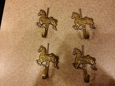 """Vintage FOUR Brass Hooks shaped as Carousel Ponies- 4"""" long - Decorator pieces"""