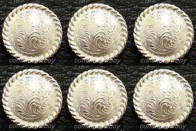 """Set of 6 WESTERN TACK BRIGHT SILVER ROUND ROPE EDGE SADDLE CONCHOS 1"""" screw back"""