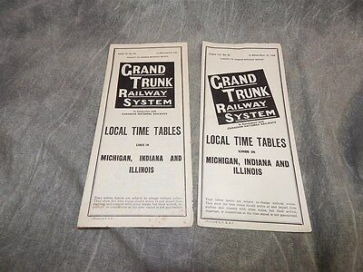 2 Grand Trunk Railway Timetables Time Tables 1938 & 1952