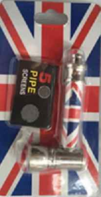 NEW METAL SMOKING PIPES WITH FIVE PIPE SCREENS, Small Pocket size union jack UK