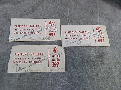 THREE TICKETS TO NUREMBERG Military Tribunal TRIAL 397, RUDOLF HOESS