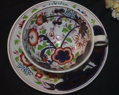 Antique China : a 19th century pottery Gaudy Welsh Cup & Saucer