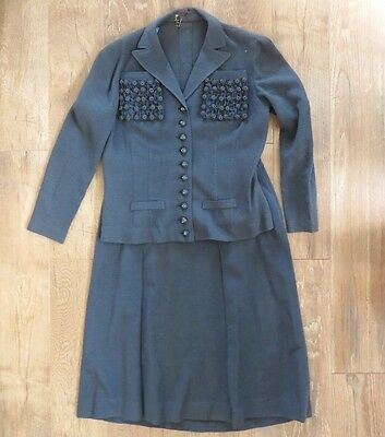 Vtg 40s Blue Wool Skirt & Jacket — I. Magnin XL