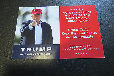 DONALD TRUMP PENNSYLVANIA DISTRICT 9 Primary Election Voting Day Reminder Card