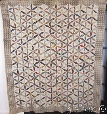 Early 1830/40s Kaleidoscope Applique Antique QUILT Prussian Blue AMAZING
