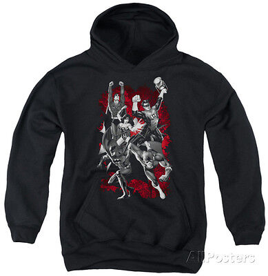 Youth Hoodie: Justice League - Justice League Explosion Pullover Hoodie - Black
