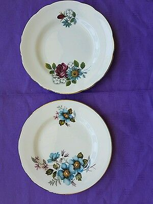 Vintage side plates flowers Made in England