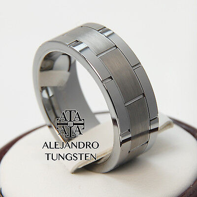 Tungsten Ring Men's Wedding Band 8MM Silver Line Brushed Satin Dsg Size 8 #NMB