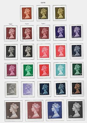 1967-69 MACINS  1/2d to £1.00 SET OF 27 WITH VARIATIONS VERY FINE UNMOUNTED MINT
