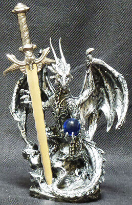 BEHOLD   Blue Crystal Dragon with Sword  Letter opener Figure Statue H 6.5""
