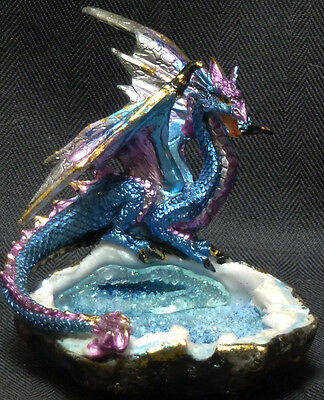 "BLUE CRYSTAL WATER DRAGON Perched Near Pond  H3.5'' x W3.75""  Statue Figure"