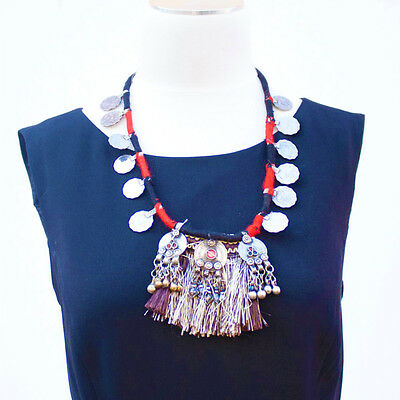Kuchi Gypsy Long Statement Necklace with Coins and Tassel Prndant Afghan Tribal
