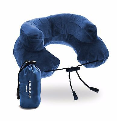 Cabeau Blue Inflatable Travel Pillow and Neck Pillow w/ Pouch - Air Evolution