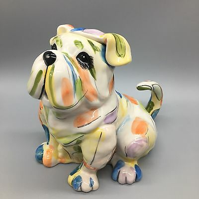 Blue Sky Clayworks Bulldog Teapot Dog Hand Painted Colorful Decorative Art NEW