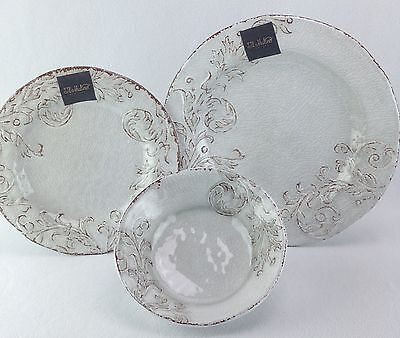 Il Mulino 12 PC Dish Set Dinner Plates Side Plates Cereal Bowls White Rustic