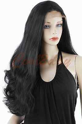 Wave Front Lace Wigs Long Black Heat Resistant Synthetic Hair Glueless Full Wig