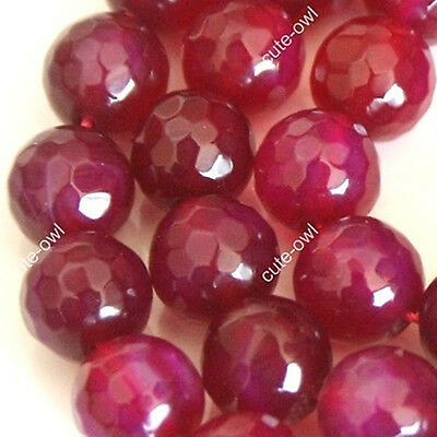 "6/8/10/12mm Natural Faceted Red Agate Ruby Loose Beads GemStone 15"" AAA"