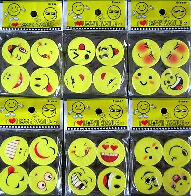 Bulk Lot x 24 Mixed Moody Face Rubber Erasers Novelty Stationery Party Favors