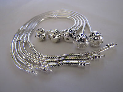 5 x 22 cm 925 STAMPED SILVER SNAKE CHAINS FOR  EUROPEAN  CHARM BRACELETS + GIFT