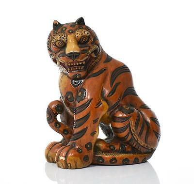 Japanese Hand Painted Wood Carved Tiger. Est Lot 280