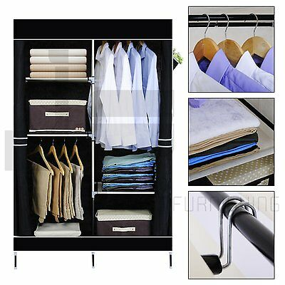 Double Canvas Wardrobe Clothes Hanging Rail Storage Closet  Wardrobes & Pattern