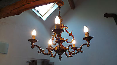Bronze Vintage French Chandelier Five Arm 5 Arm Light Fittings Bird Cage Pendant