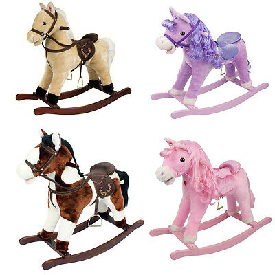 Kids Gift Toy Rocking Horse Pony Moving Mouth + Sound Children Boys Girls Rocker