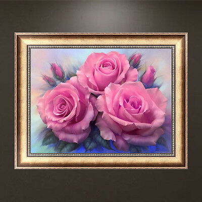 DIY 5D Diamond Embroidery Painting Pink Roses Cross Stitch Home Decor Crafts