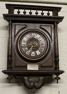 1900's Vintage French Carved Country Wall Clock with decorative Face