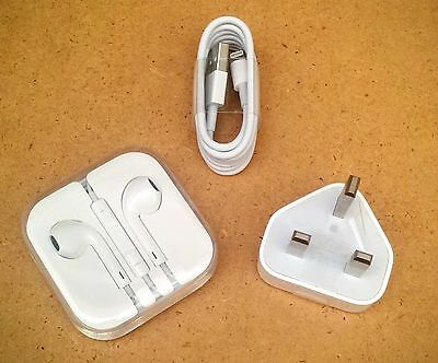 Apple iPhone Accessories Bundle - Headphones, Lightning USB Cable & Charger Head