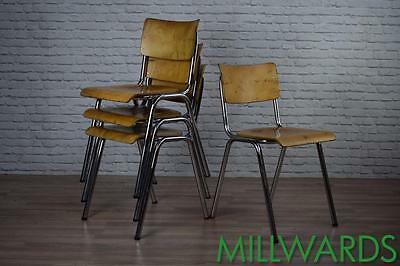 Vintage Industrial Stacking Stackable School Cafe Bar Chairs 100 AVAILABLE
