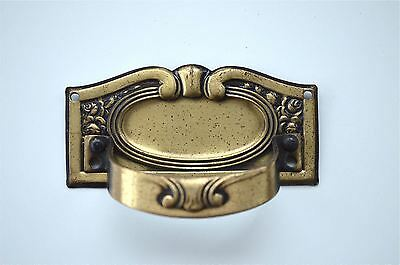 Original antique French pressed brass pull handle chest furniture KP18