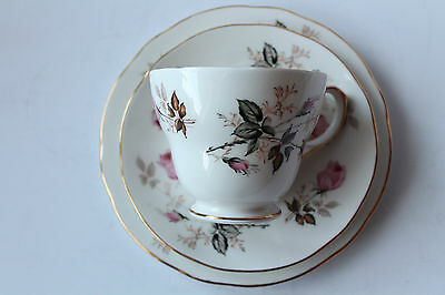 Duchess Fine China Trio Cup Saucer & Plate Pink Rose Floral Pattern Vintage