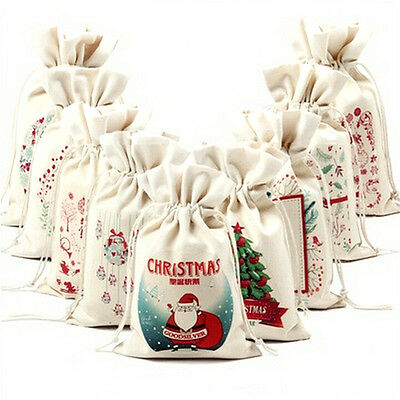 Christmas Gift Candy Bags Canvas Santa Sack Drawstring Bags Xmas Decoration jx