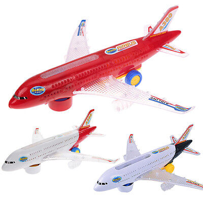 Electric Airplane Moving Flashing Led Lights Sounds DIY Assembly Aircraft Toys