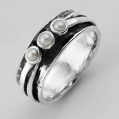 SHABLOOL ISRAEL Didae Handcrafted White Pearl Sterling Silver 925 Ring
