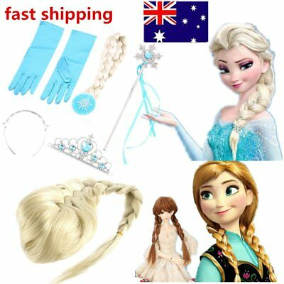 Frozen Princess Elsa Anna Gloves Tiara Crown Braid Wig Hair Piece Wand Kid NEW G