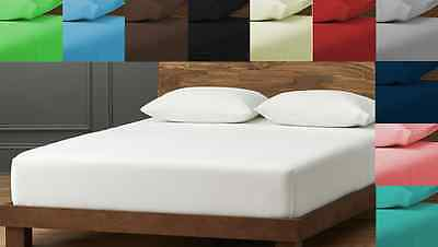 Luxury Poly Cotton Plain Dyed Fitted,Flat  Sheet Single Double King, SuperKing