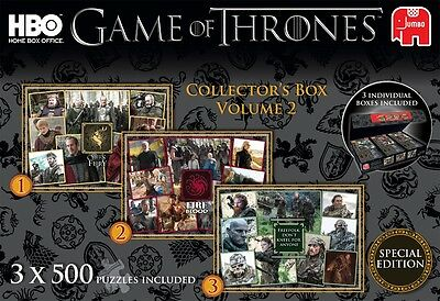 NEW! Jumbo Game of Thrones Collector's Box Vol. 2 3 x 500 piece jigsaw puzzles