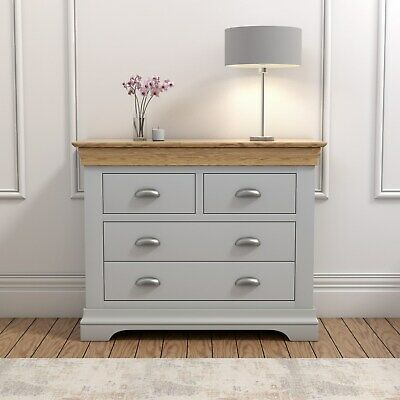 Grey Chest of Drawers Oak Top 2+2 Drawer Solid Wood Bedroom Storage Cup Handles
