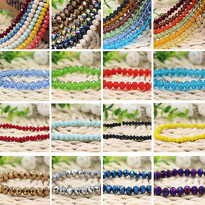 New Faceted Crystal Rondelle Loose Charm Glass Beads Jewelry 30Colors 4/6/8/10mm