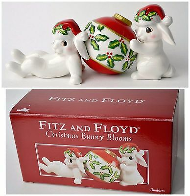 "Fitz and Floyd Christmas Bunny Blooms in Box 4"" Xmas figurine Holidays bunnies"