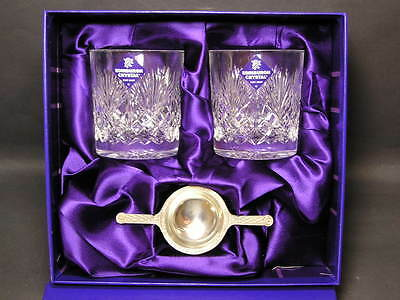 Edinburgh Crystal A Pair of Whisky Tumblers With Pewter Quaich Unused