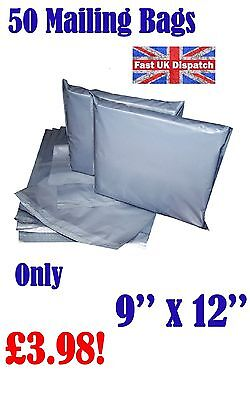 50 Mailing Bags 9 x 12 Strong Grey Plastic Poly Postal Postage Auct 7-11
