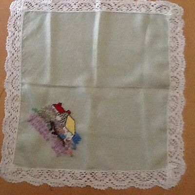 Vintage Ladies Silk & Lace Hankie - 1950's