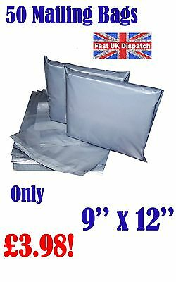 50 Mailing Bags 9 x 12 Strong Grey Plastic Poly Postal Postage Auct 7-12