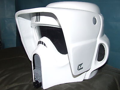 Star Wars Fibreglass Biker Scout Helmet Full Size Fitted With Inner Padding