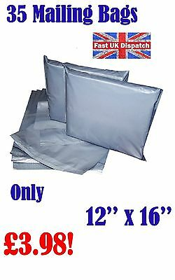 35 Mailing Bags 12 x 16 Strong Grey Plastic Poly Postal Postage Auct 4-14