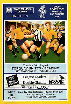 1988/89 Torquay United v Reading, Littlewoods Cup (League Cup), PERFECT