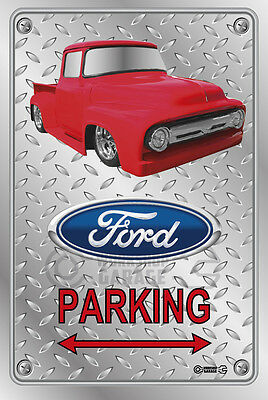 Parking Sign - Metal - Ford F100 - 1955 - 1956 - Custom - RED TRUCK